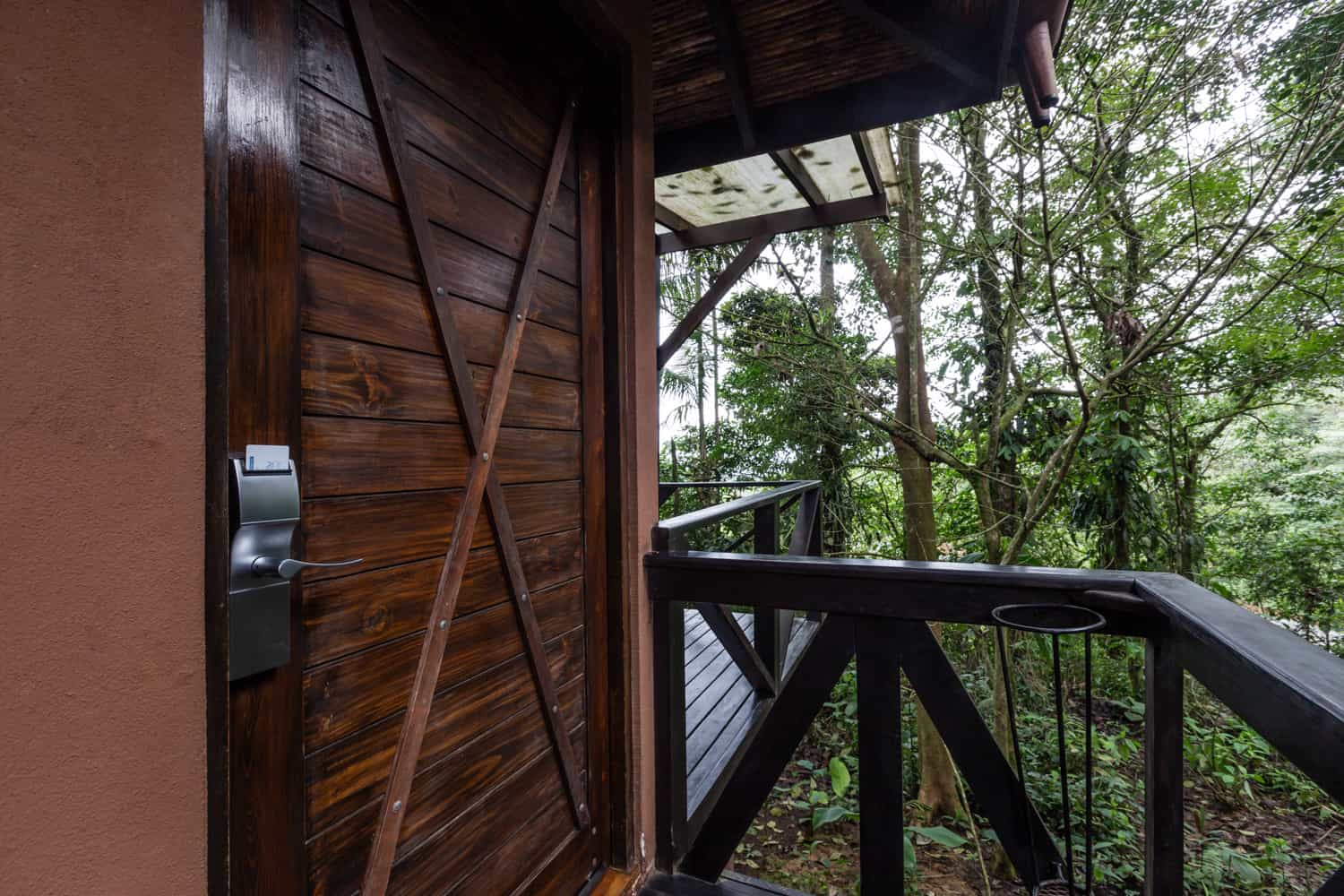 Entrance to guest room secluded in rainforest in Tenorio, Costa Rica.