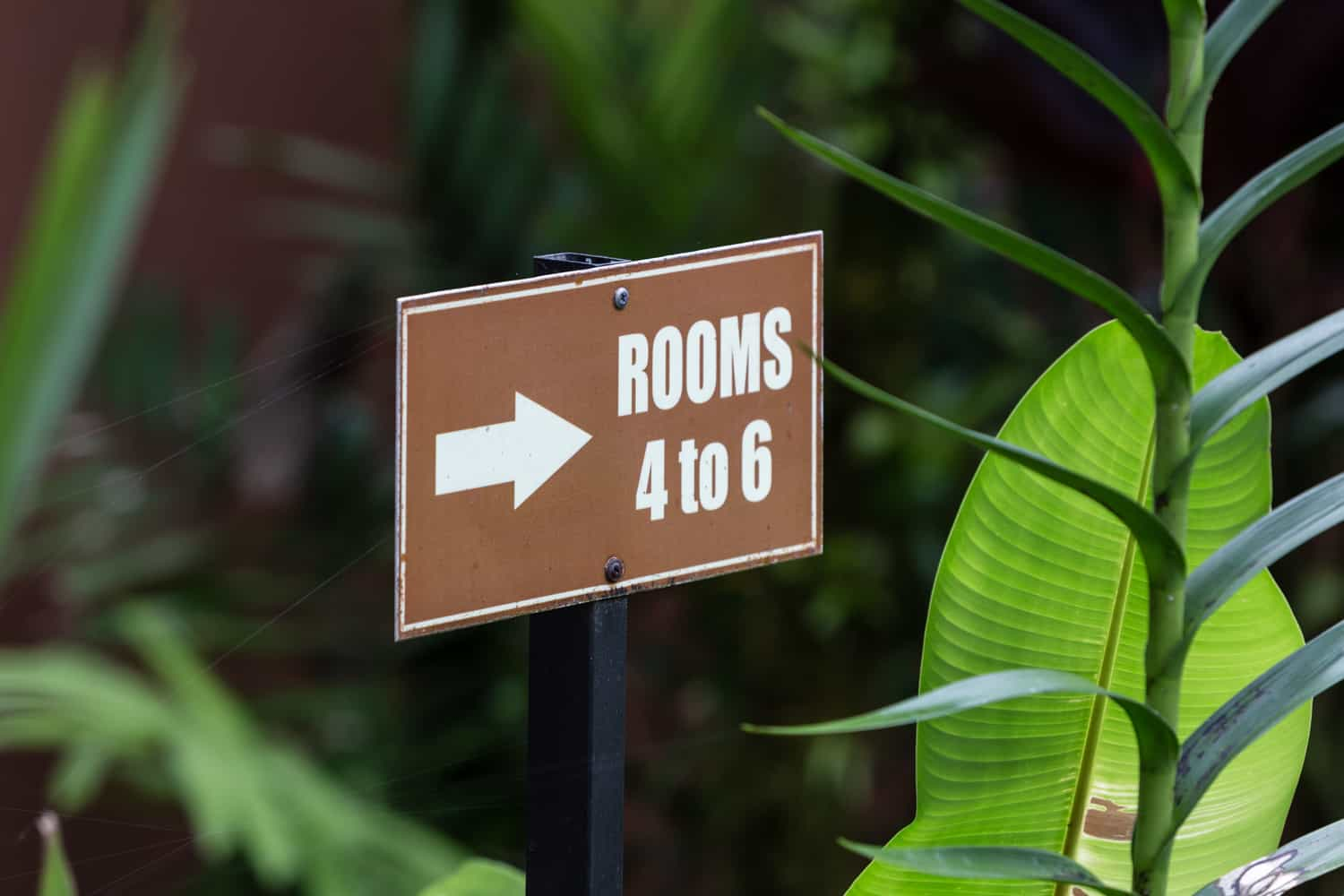 Sign at Rio Celeste Hideaway Hotel pointing to guest rooms.