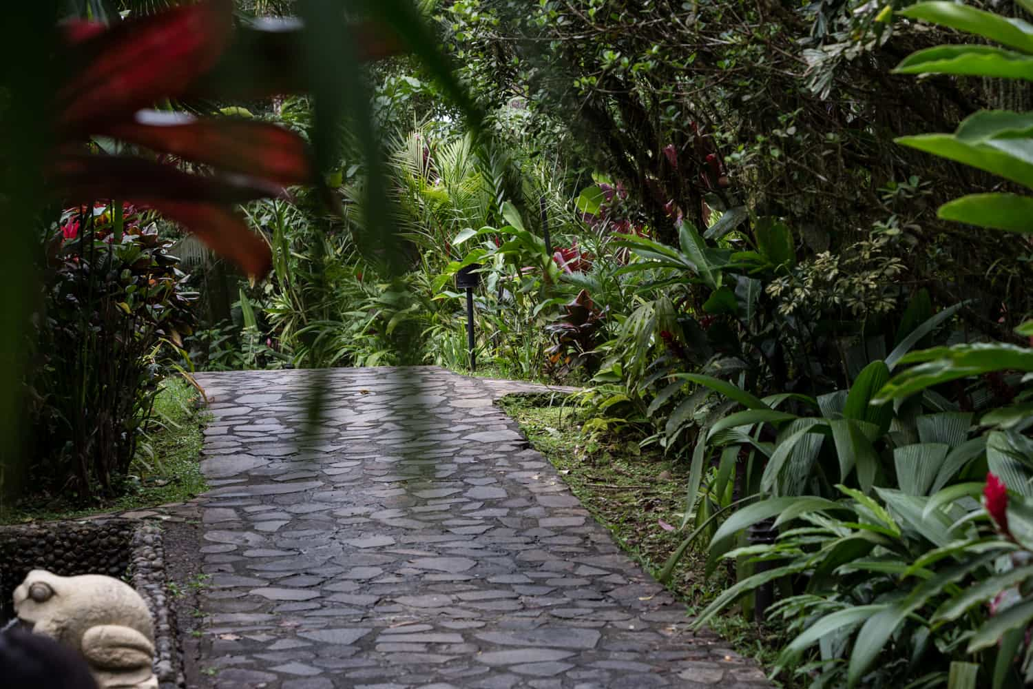 Natural stone patch connecting luxury guest rooms at Rio Celeste Hideaway Hotel.