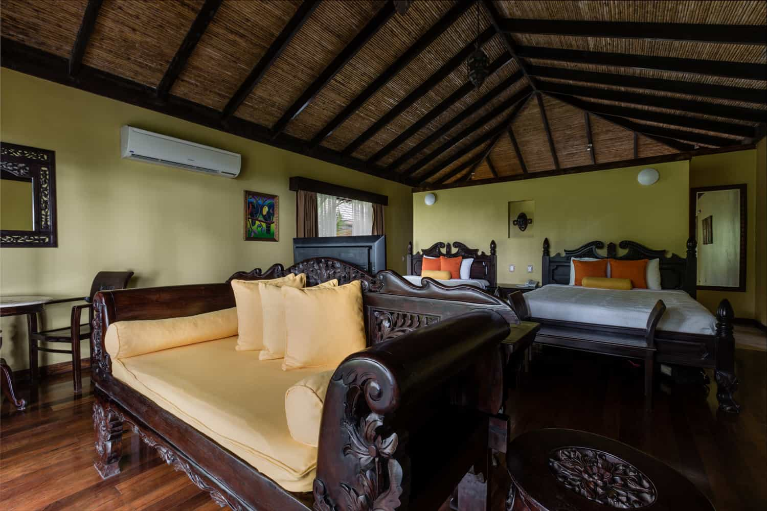 Luxury guest room Rio Celeste Hideaway Hotel with two queen beds.