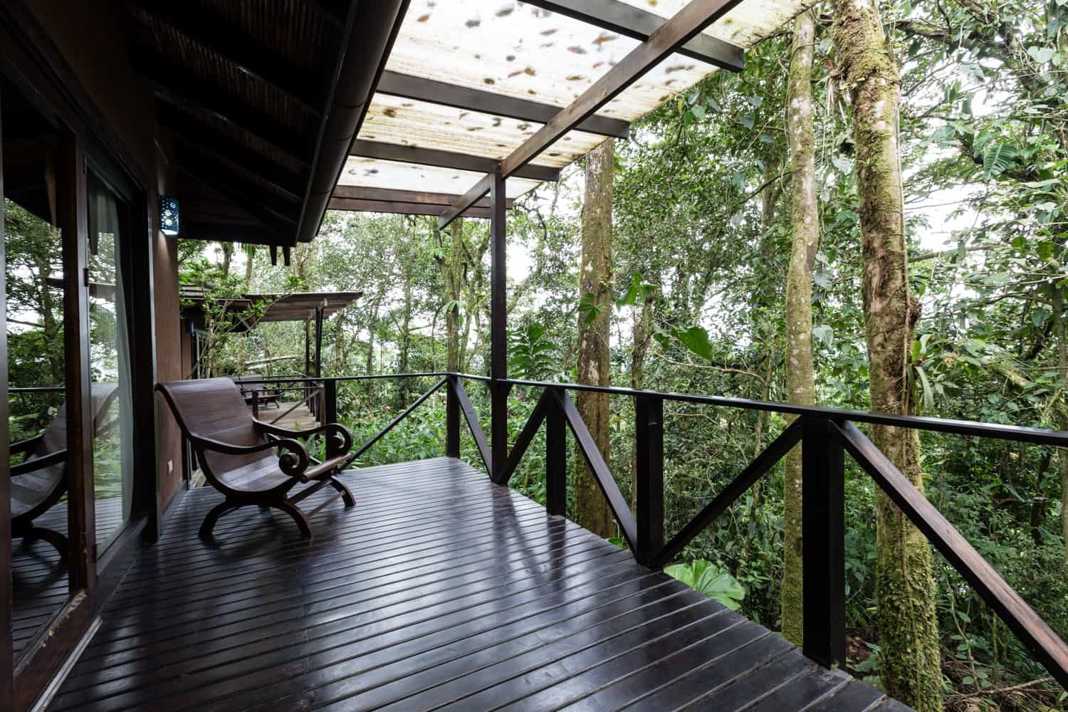 Rainforest surrounds covered wood deck at room for wedding guests.