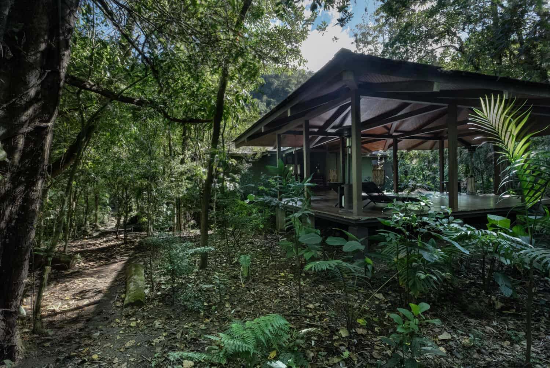 Rear view of pavilion for wedding events at El Silencio Lodge.