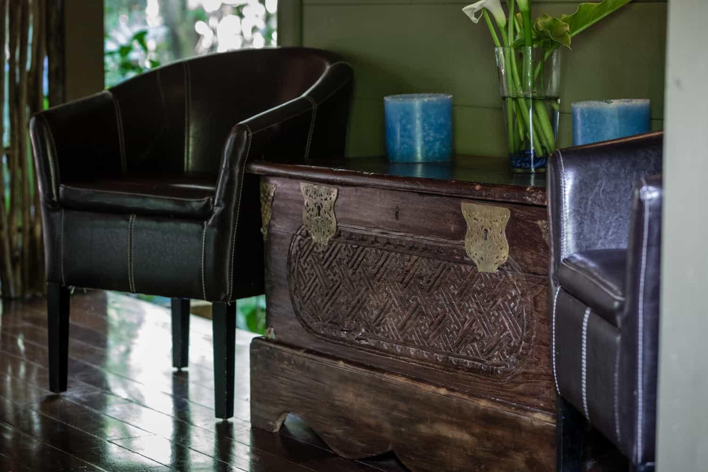 Chair in corridor of wedding reception site at El Silencio.