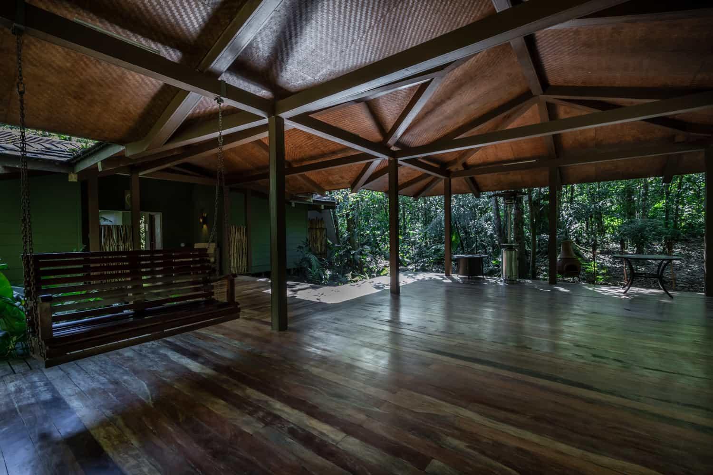 El Silencio Lodge's wood pavilion for wedding receptions.