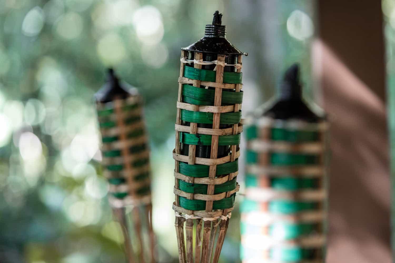 Tiki Torches near wedding ceremony venue in Costa Rica.