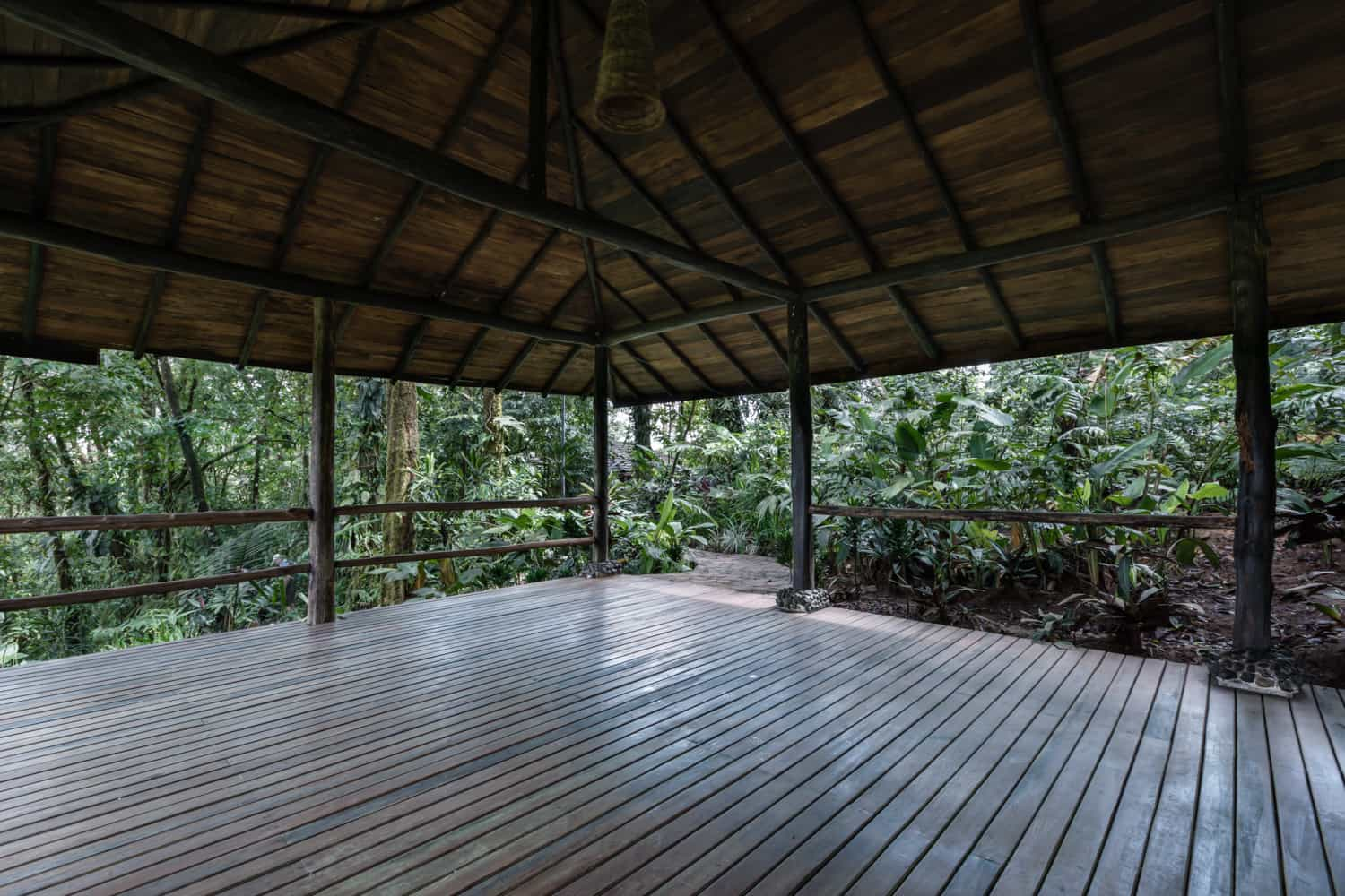 Large covered area in pavilion for rainforest wedding at Rio Celeste Hideaway Hotel.