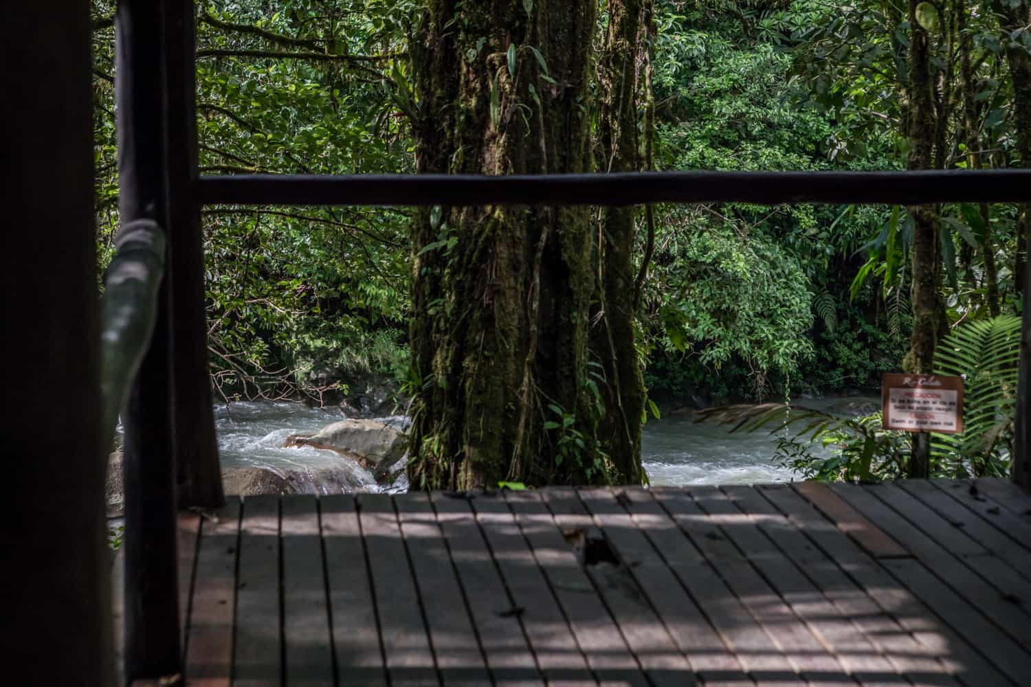 View of river from deck for intimate weddings at Rio Celeste Hideaway Hotel.