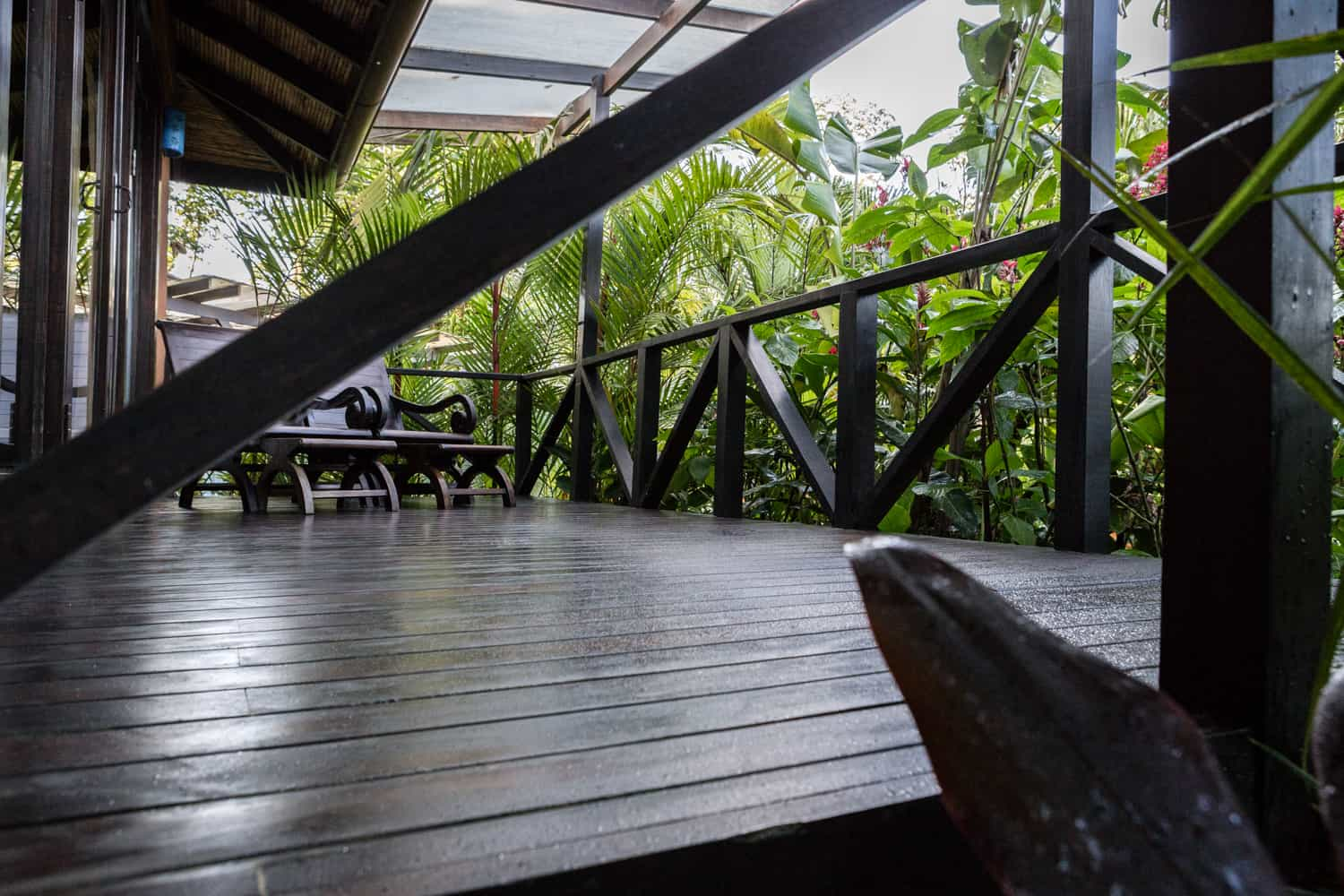 Garden view wood deck at Rio Celeste Hideaway Hotel for private wedding.