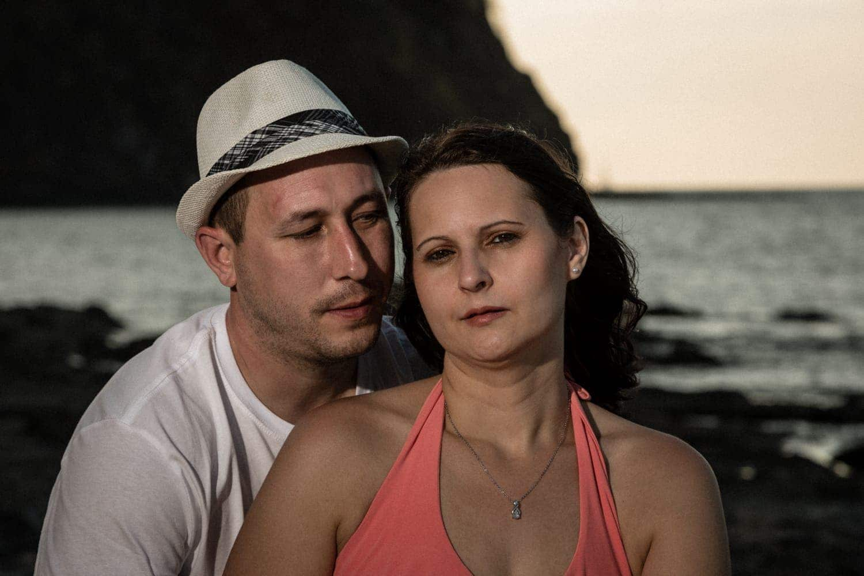 Sunset beach photo of couple in love in Guanacaste, Costa Rica.