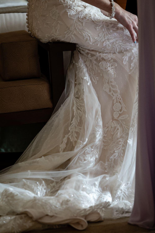 Amazing photo of beautiful wedding dress train.