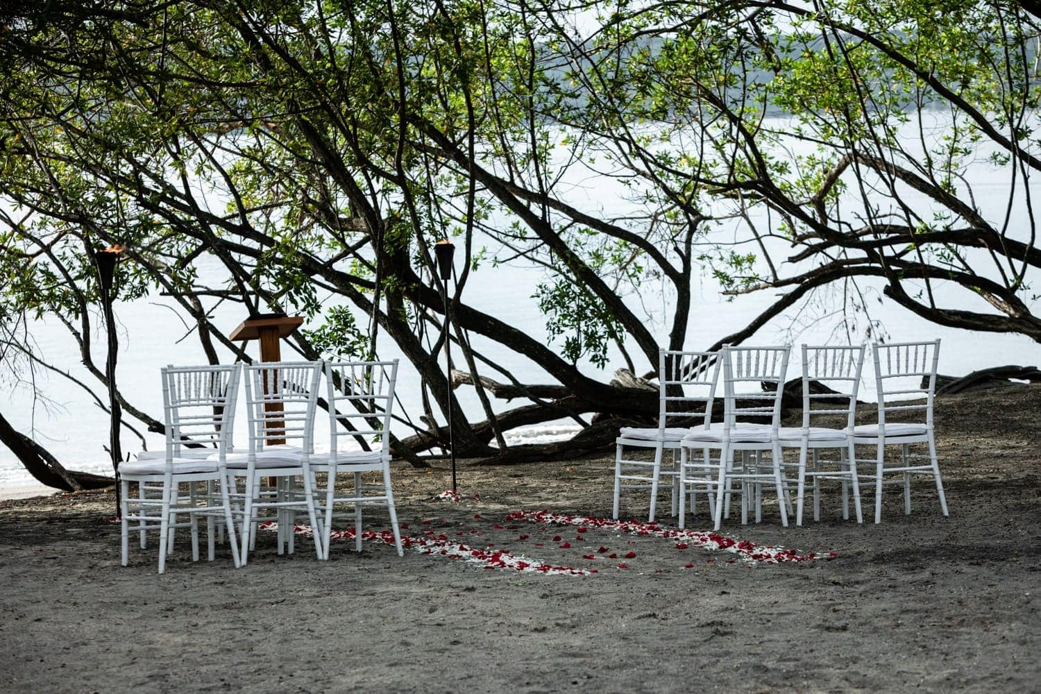 Beach wedding venue at Secrets Papagayo decorate with flower petals.