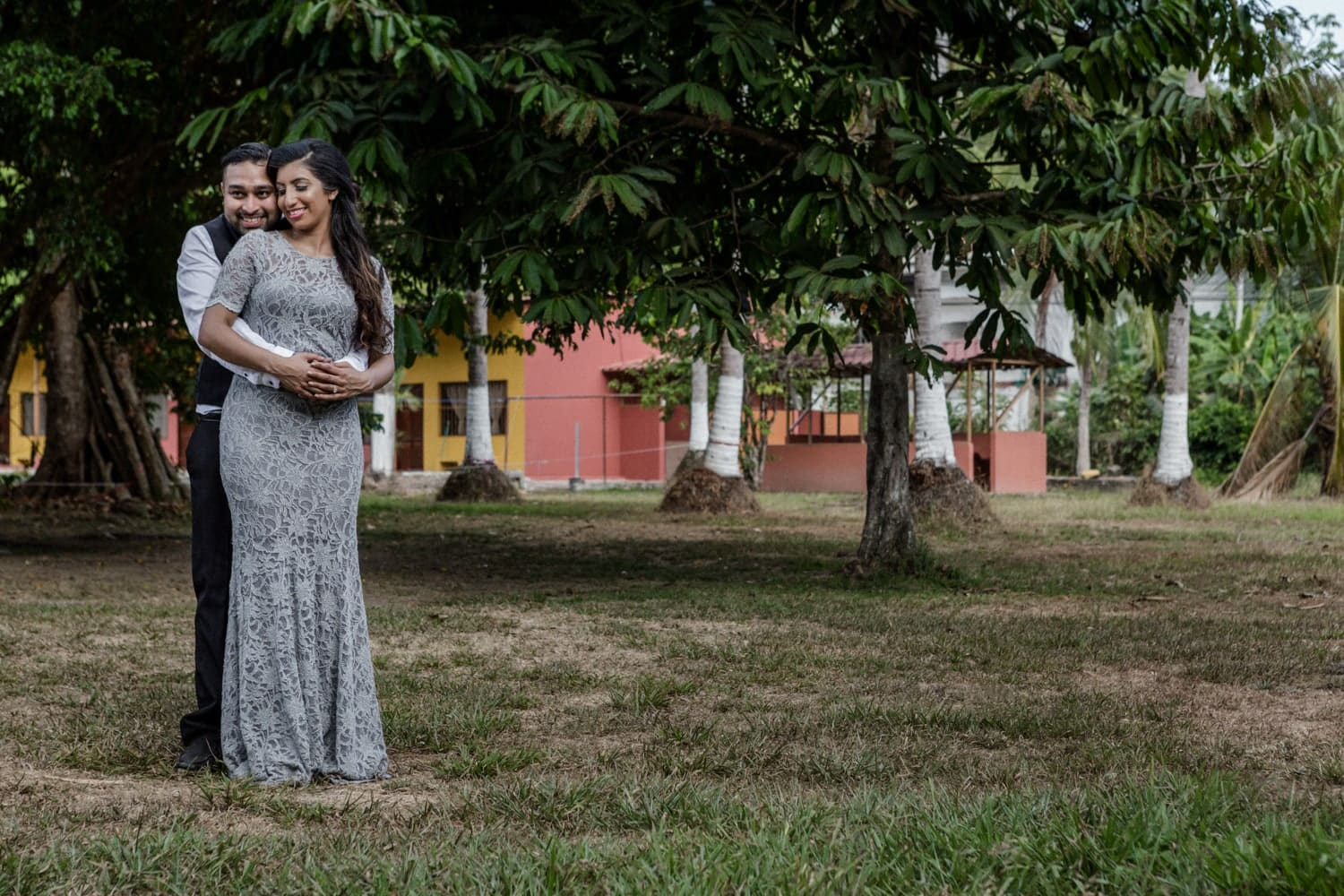 Couple pose for photo in Manuel Antonio during their engagement.