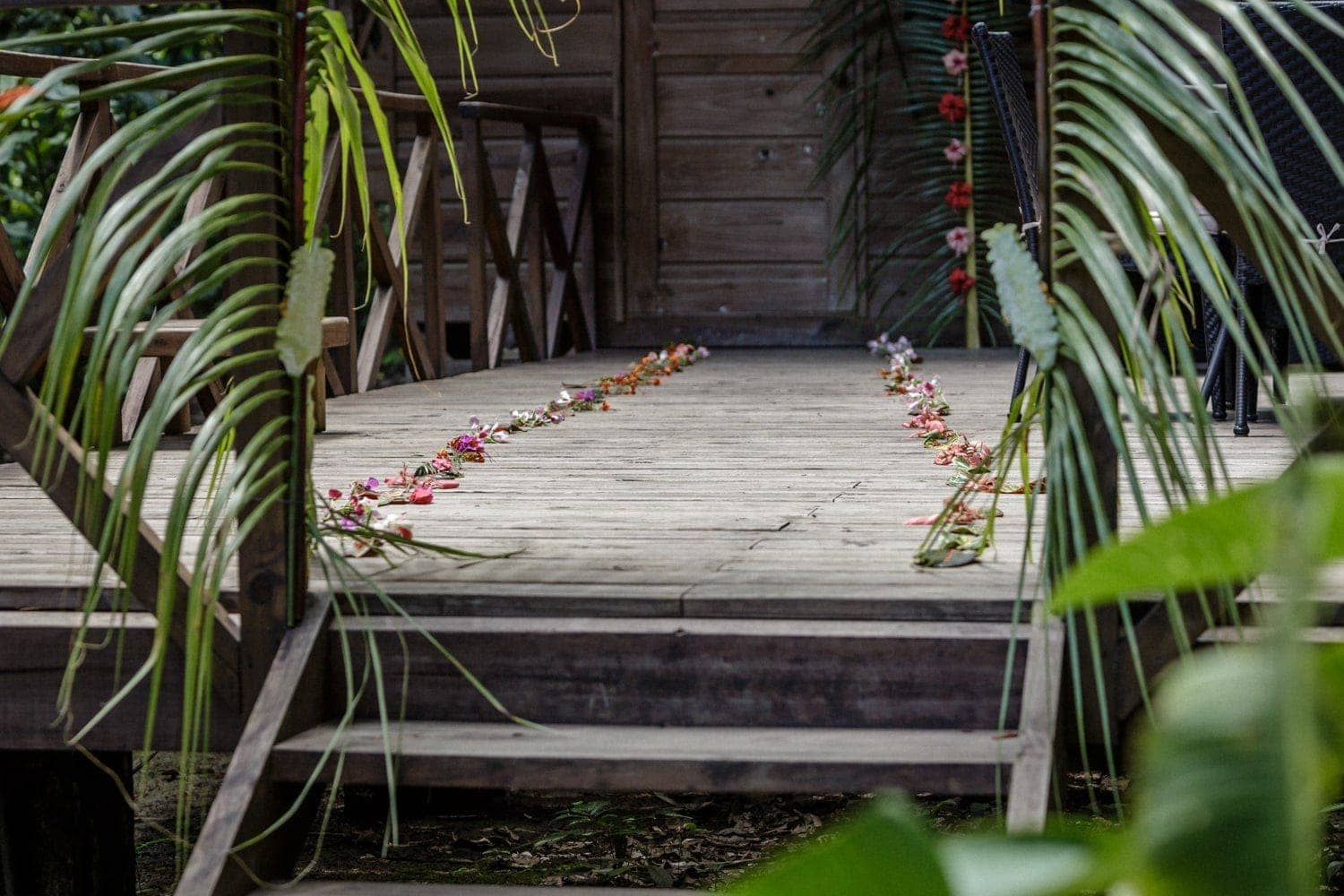 Deck outside honeymoon suite is decorated with exotic flowers.