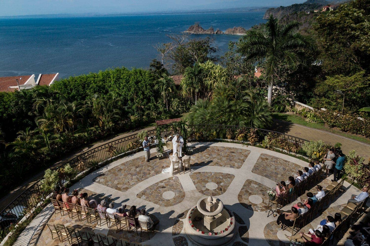 Wedding ceremony venue at Villa Avalon with view of Pacific Ocean.