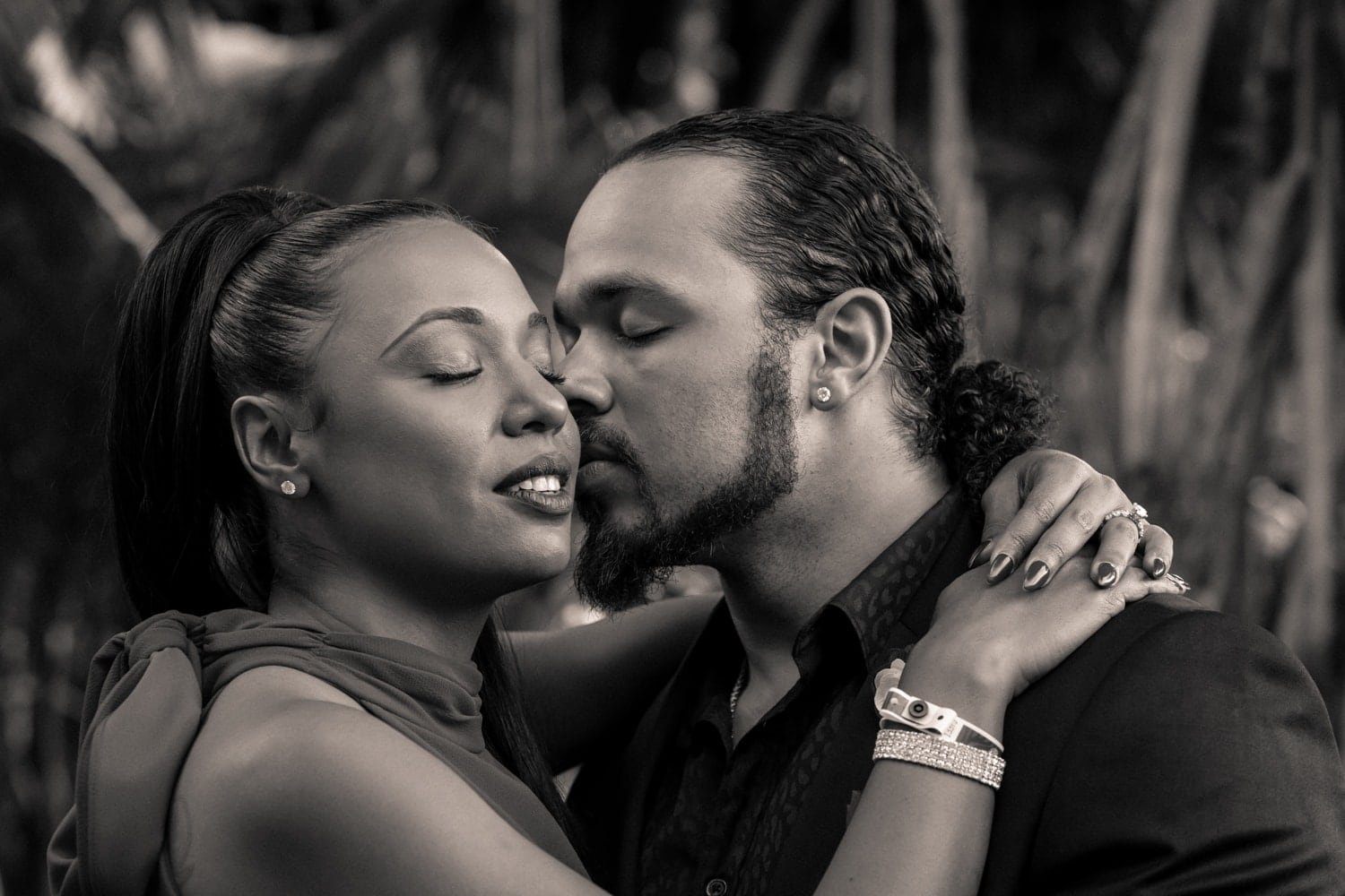 Black and white photo of couple during romantic Costa Rica engagement session.