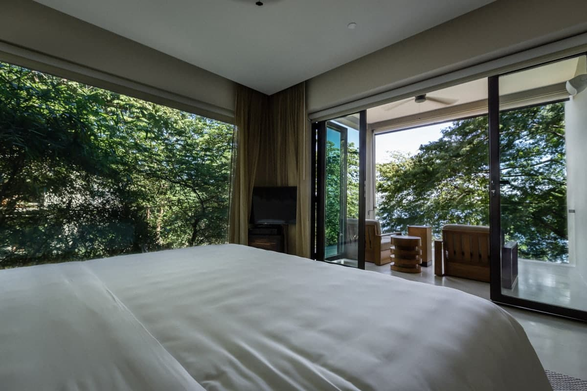 Rainforest and ocean views from bed in Andaz's honeymoon suite.