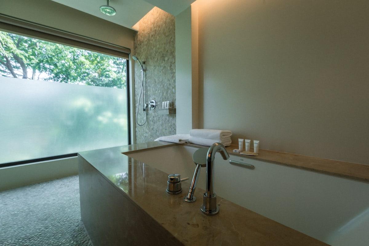 Luxury bathroom for newlyweds in honeymoon suite at Andaz Resort in Costa Rica.