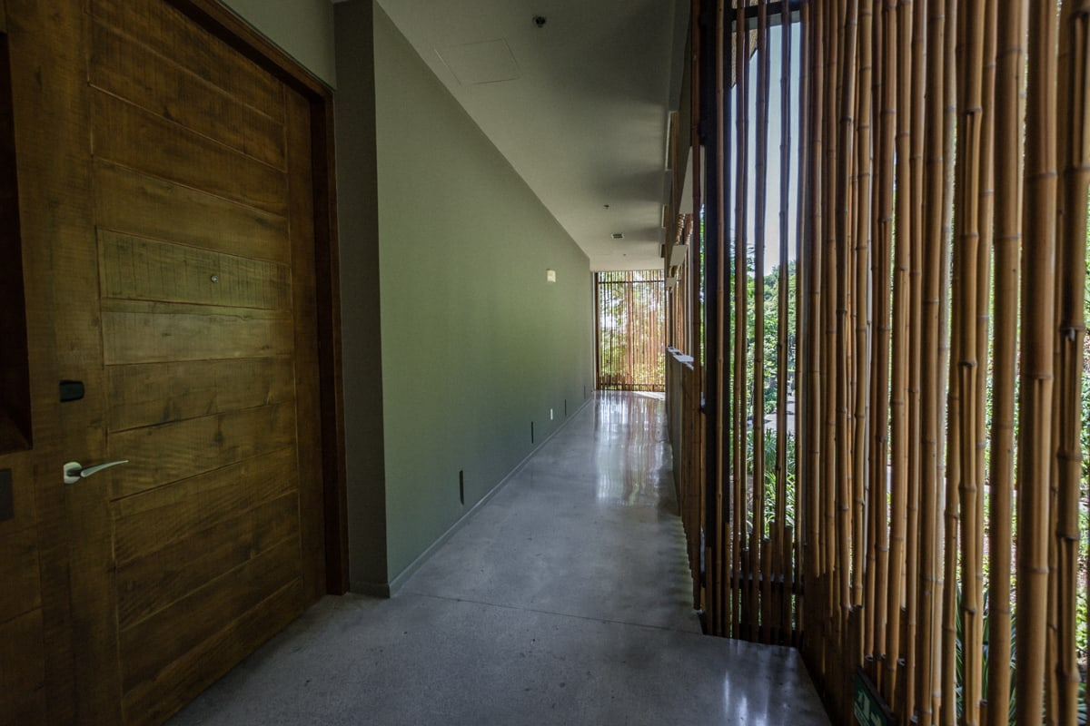 Hallway outside wedding guest rooms at Andaza Resort, Costa Rica.