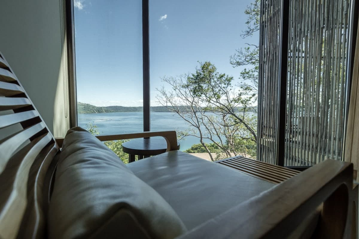Ocean view from couch in Andaz's guest suite in Costa Rica.