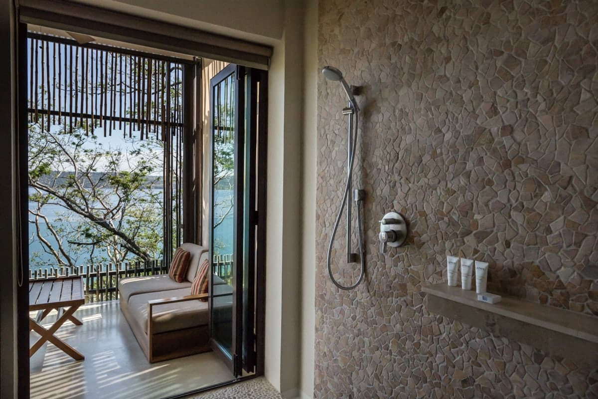 Beautiful walk-in shower for wedding guests at Andaz in Costa Rica.
