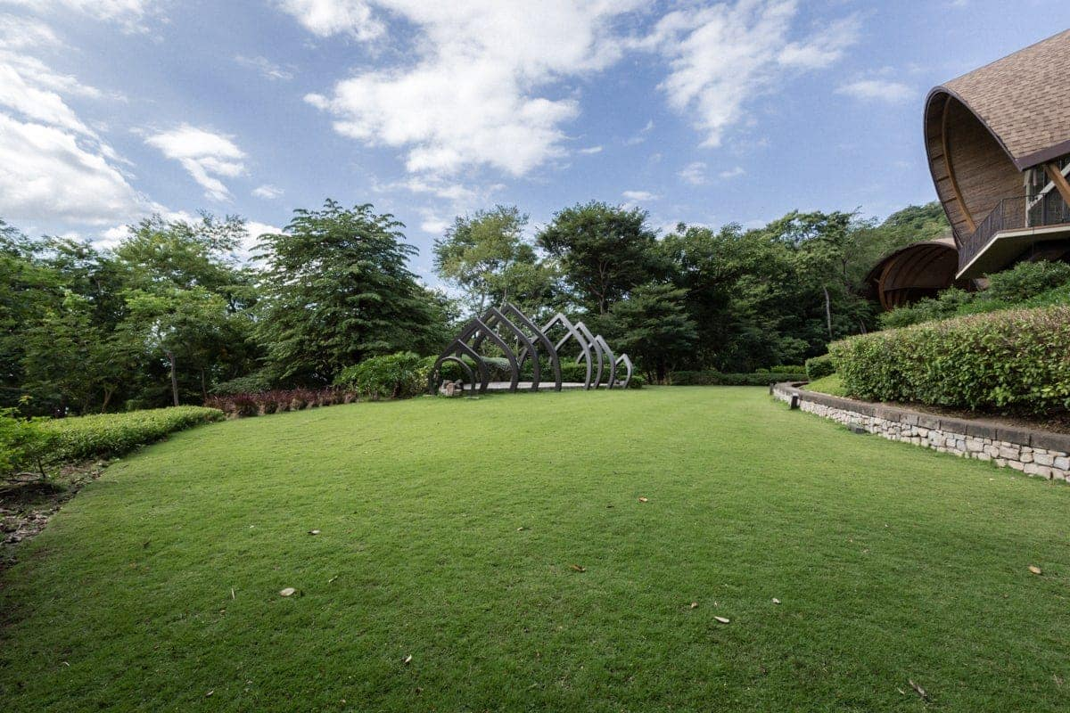 View of large lawn at outside location for wedding ceremonies at Andaz Resort.
