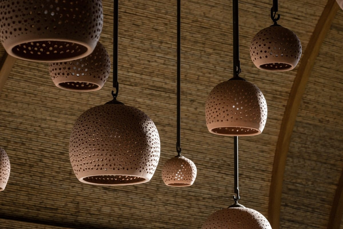 Unique lamps hanging from ceiling of Andaz Lounge.