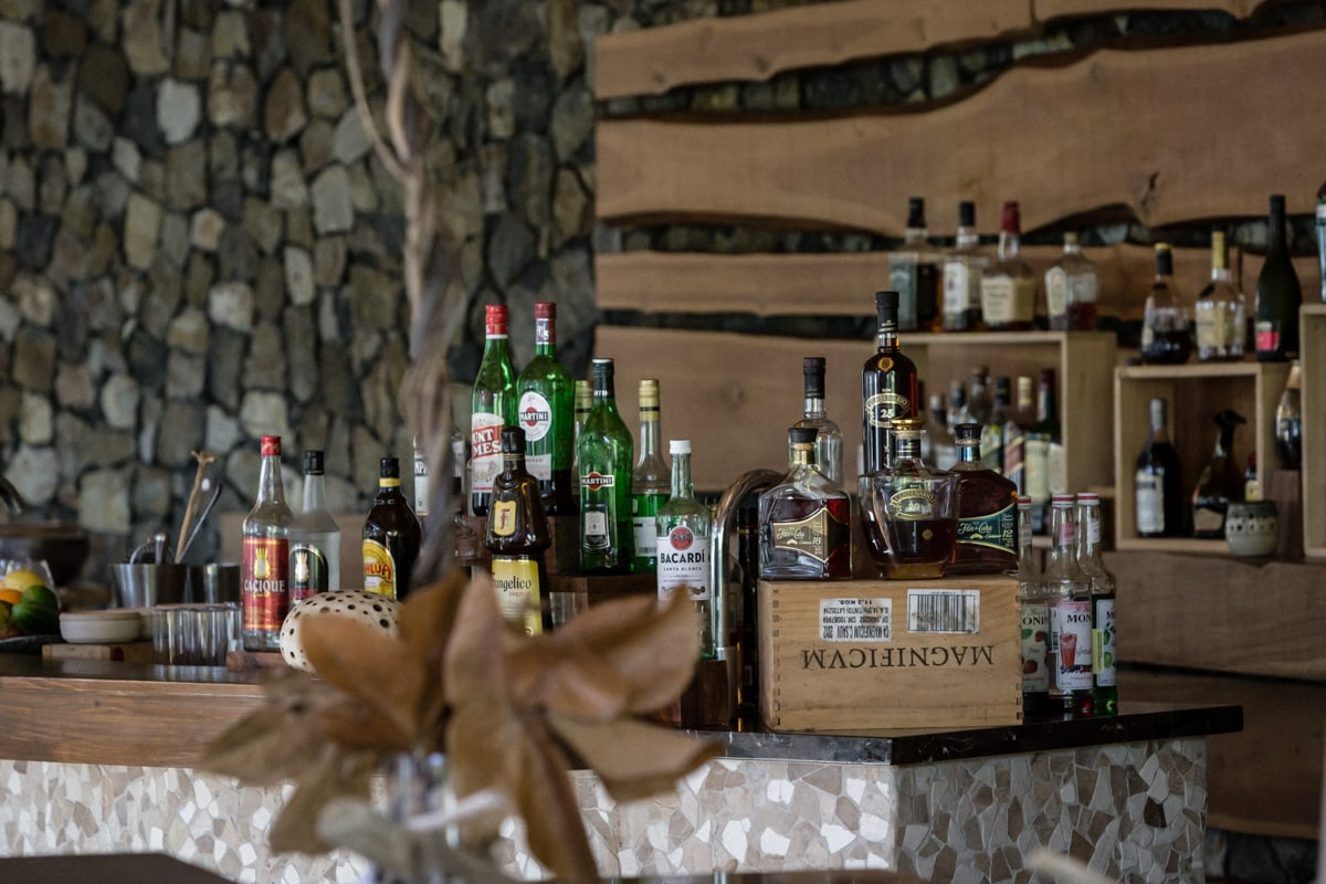 View of bar in Ostra Restaurant for wedding parties.