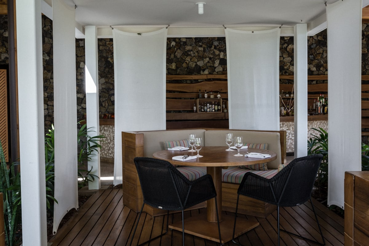 Seating area for wedding guests at Ostra Restaurant at Andaz, Costa Rica.