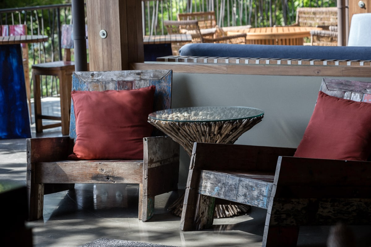 Rustic chairs decorate venue at Andaz Resort for wedding reception and rehearsal dinner.