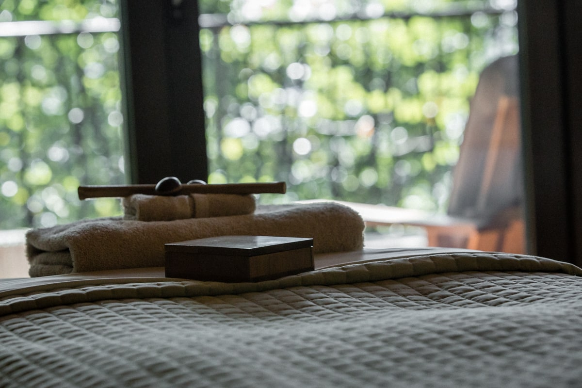 Massage table in private suite with amazing views.