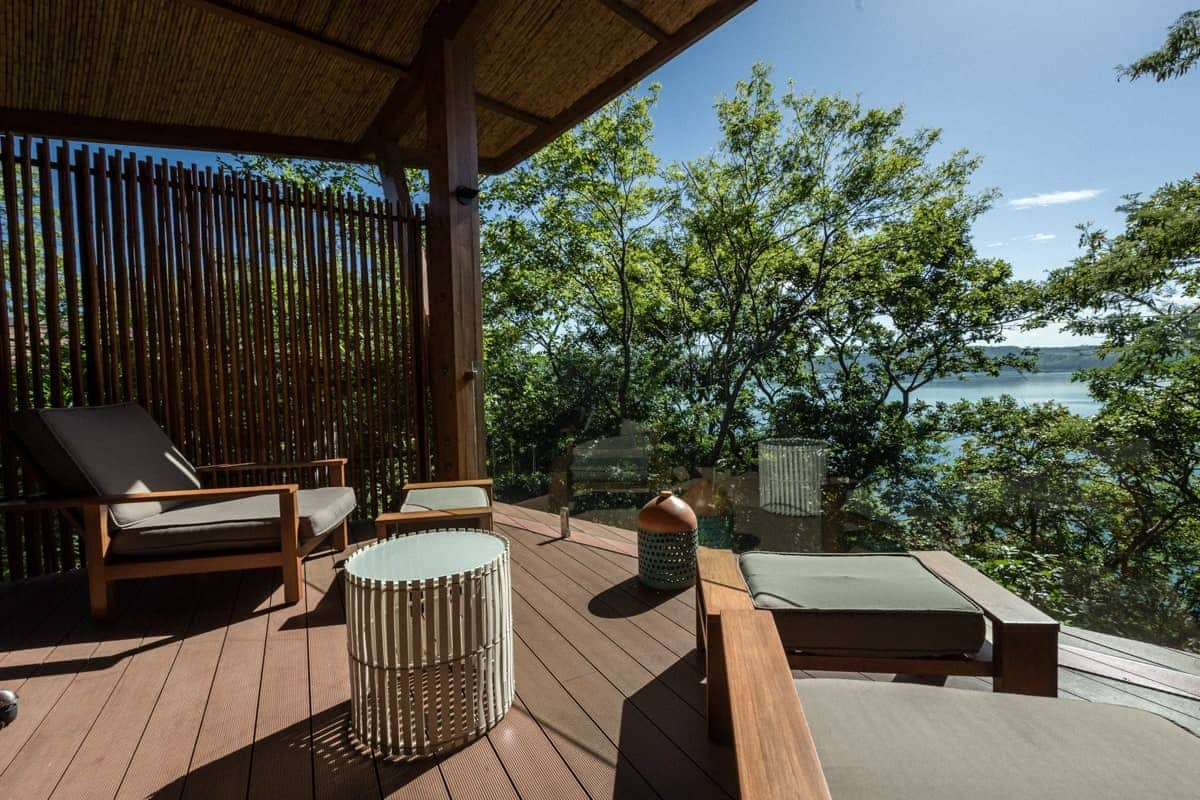 Balcony at spa bungalow with amazing rainforest and ocean views at Andaz.