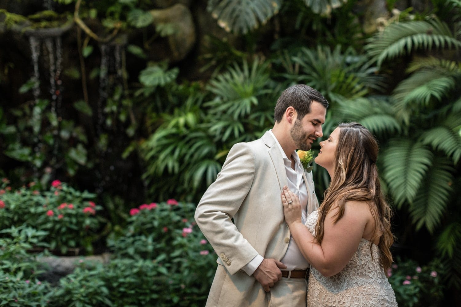 Photo of bride and groom during First Looks photo session in Costa Rica.
