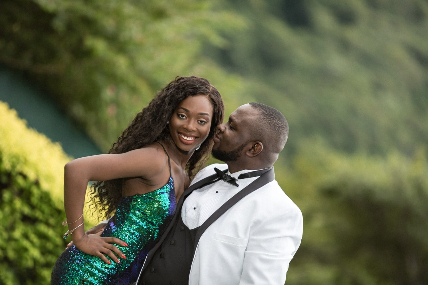 Gorgeous couple poses for photo during engagement session in Costa Rica.