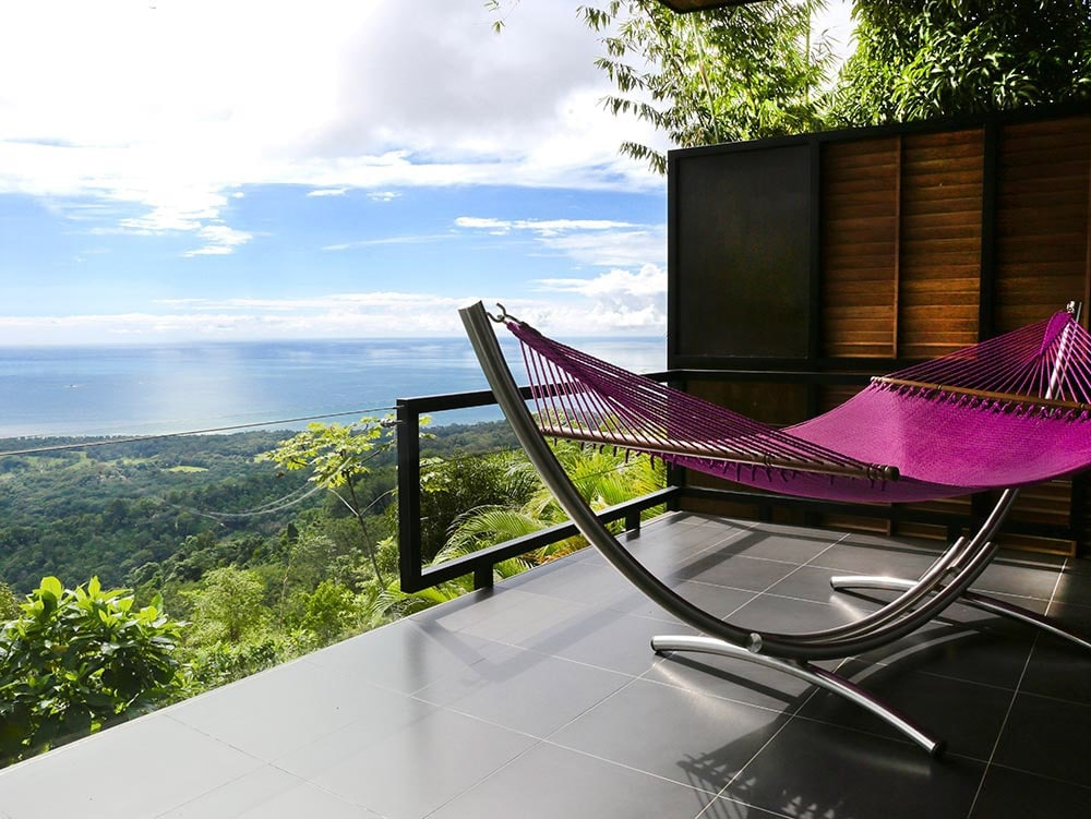 View of ocean and rainforest from luxury wedding suite at Kura Hotel in Costa Rica.