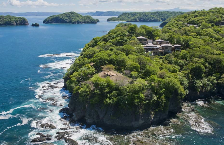 Arial view of Villa Manzu on an isolated tip of Peninsula Papagayo.