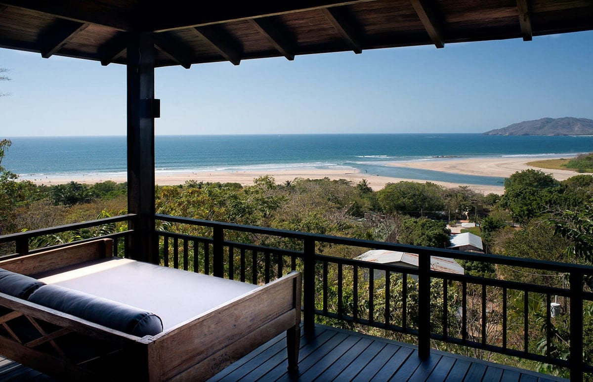 Beach views from honeymoon suite's private deck at El Chante Bungalows, Tamarindo.