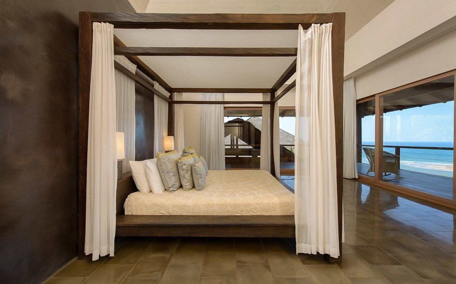 Canopy bed in master suite for newlyweds at Casa Alang Alang, Tamarindo.