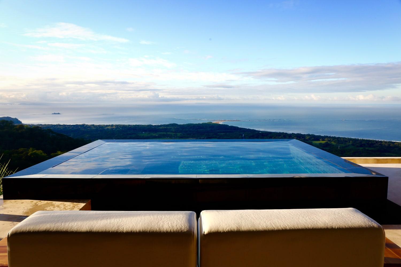 Kura Hotel's honeymoon suite's private pool with view of Pacific Ocean.