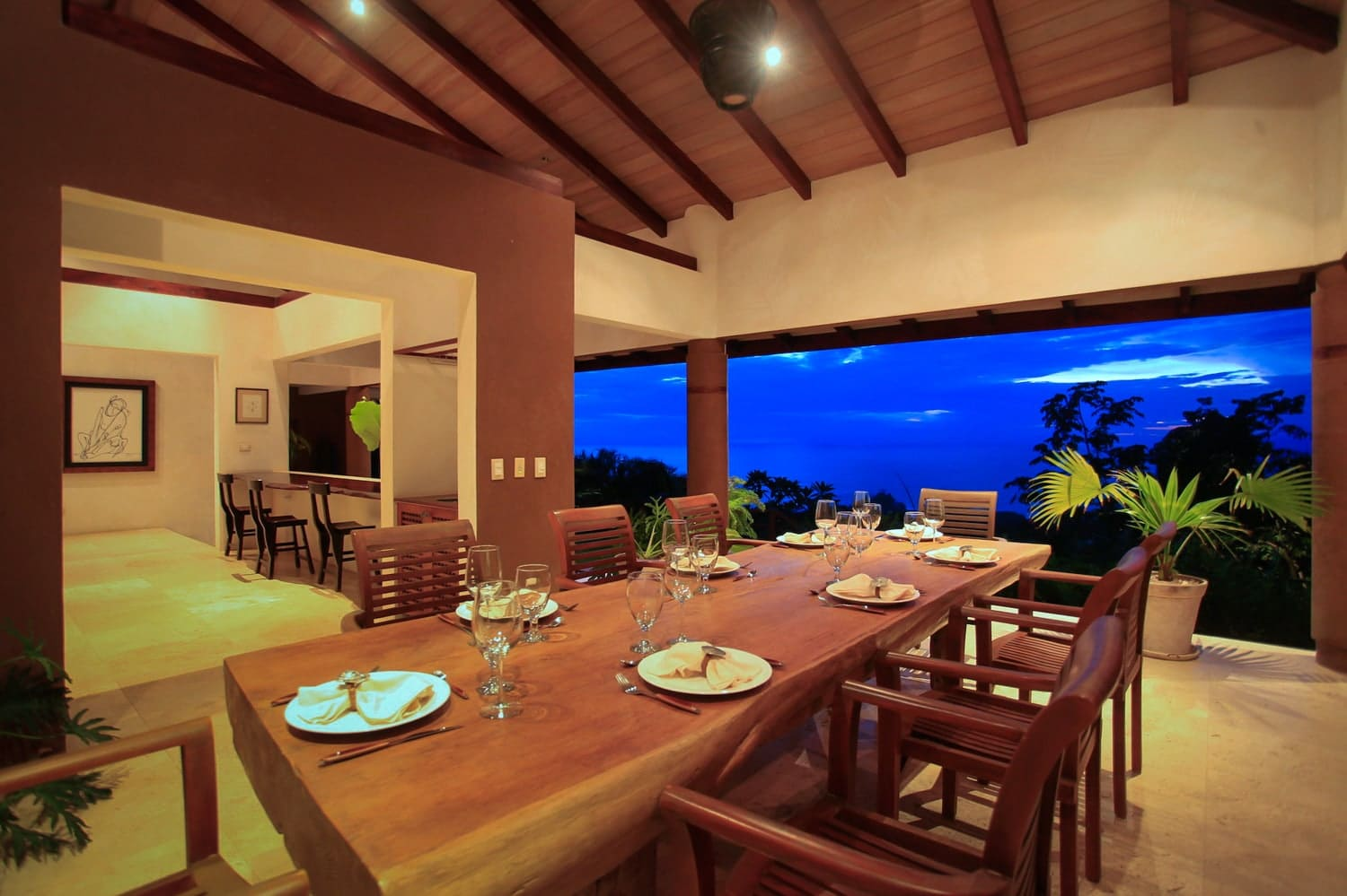 Inside dining are for wedding receptions with marvelous rainforest and ocean views at Ocio Villas, Mal Pais.