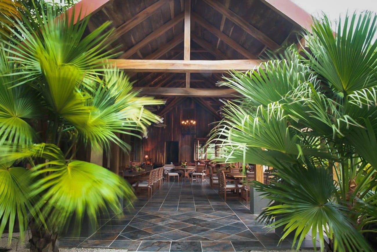 Entrance to wedding reception location at Hacienda Barrigona, Costa Rica.