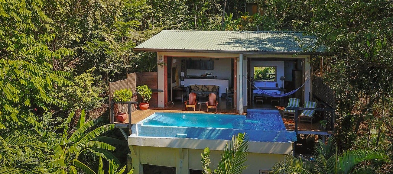 Private suite tucked away in rainforest for your wedding guests at Casa Chameleon Mal Pais.