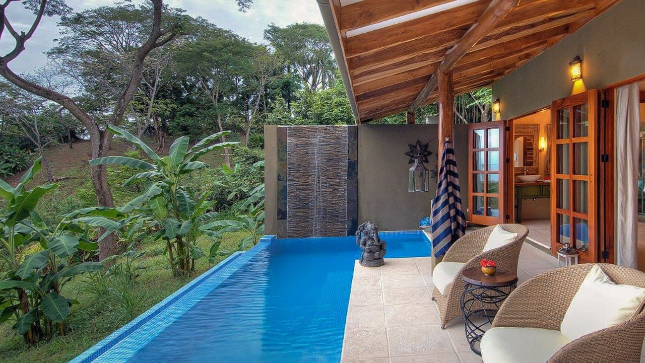Private pool with rainforest view at Casa Chameleon Mal Pais.