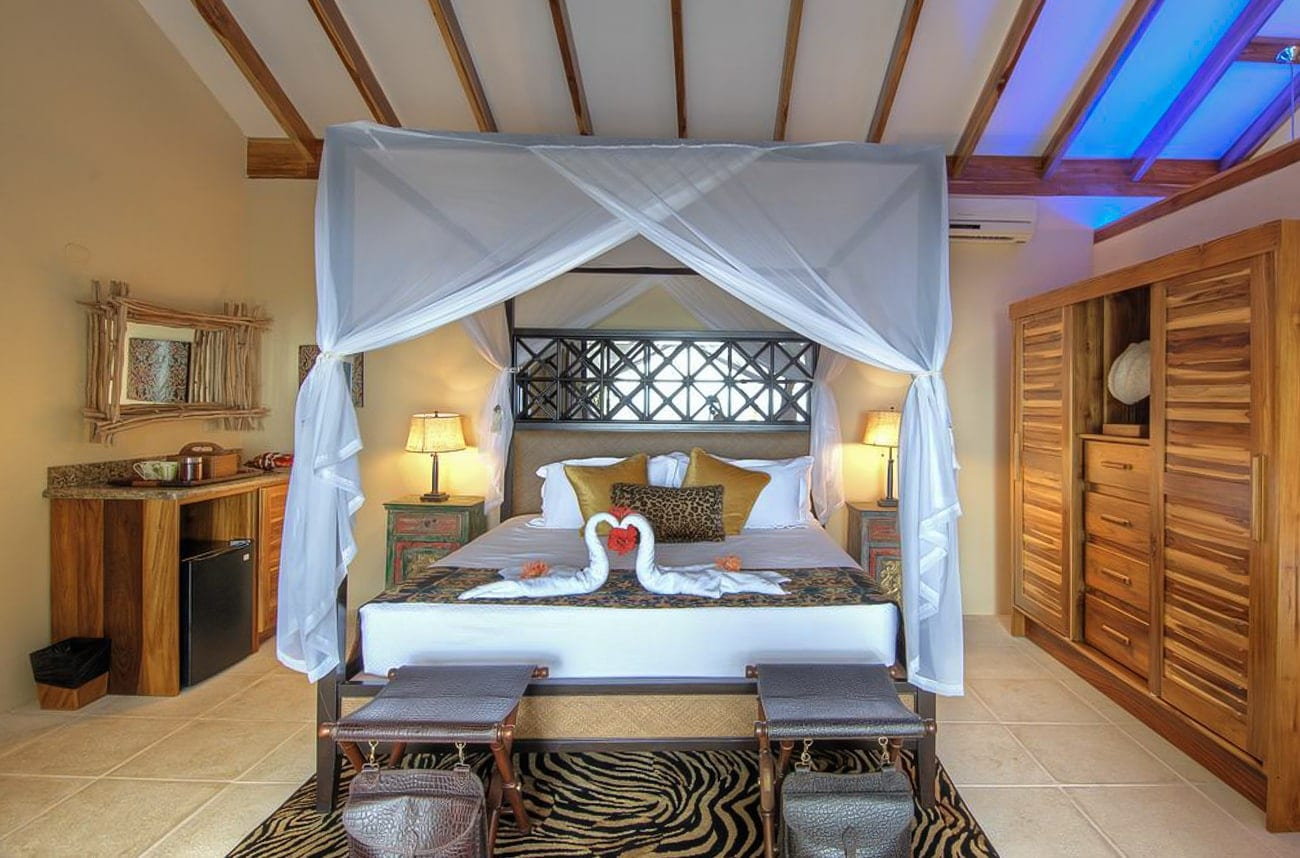 Canopy bed in honeymoon suite at Casa Chameleon Mal Pais.