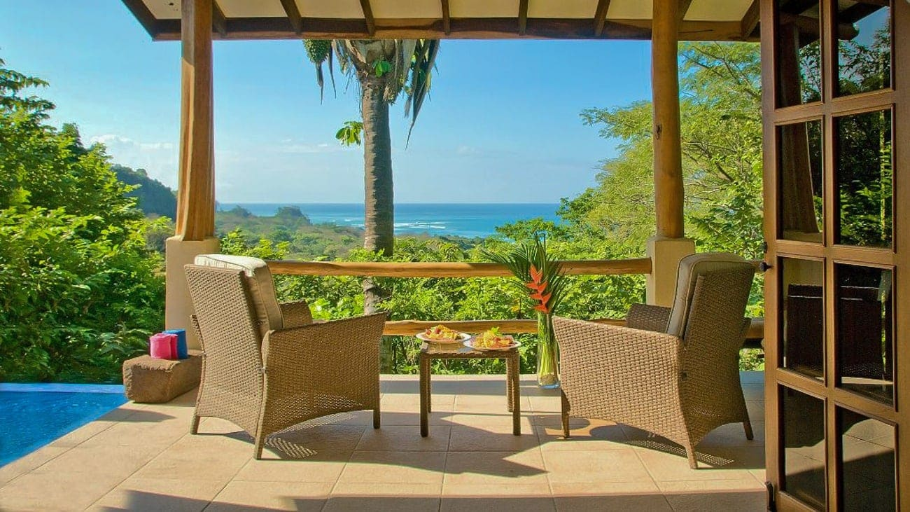 Private deck with ocean views for newlyweds at Casa Chameleon Mal Pais.
