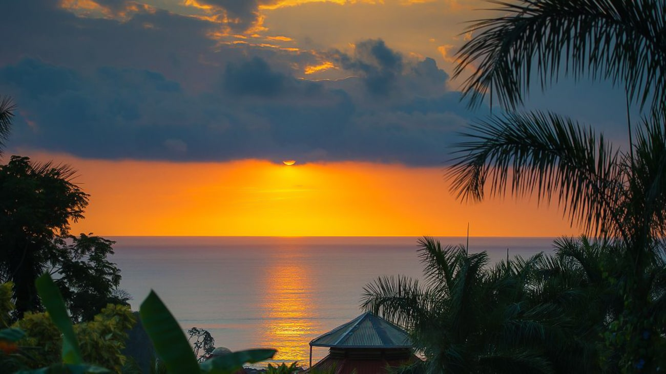 The gorgeous sunset at Casa Chameleon Mal Pais you and your wedding guests will enjoy.
