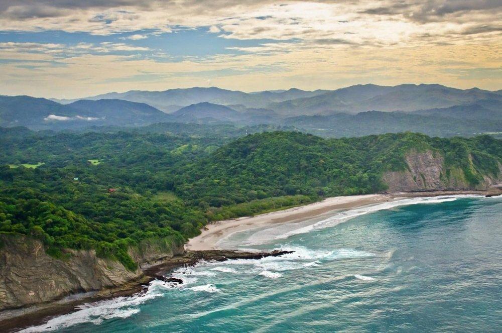 Arial view of beach wedding venue at Hacienda Barrigona in Nosara.