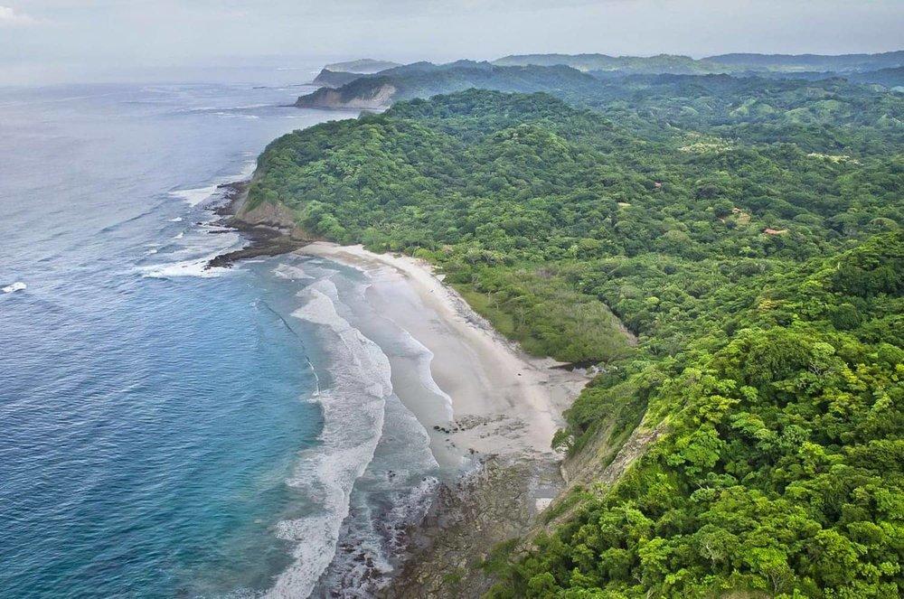 Arial photo of beach wedding venue at Hacienda Barrigona, Costa Rica.