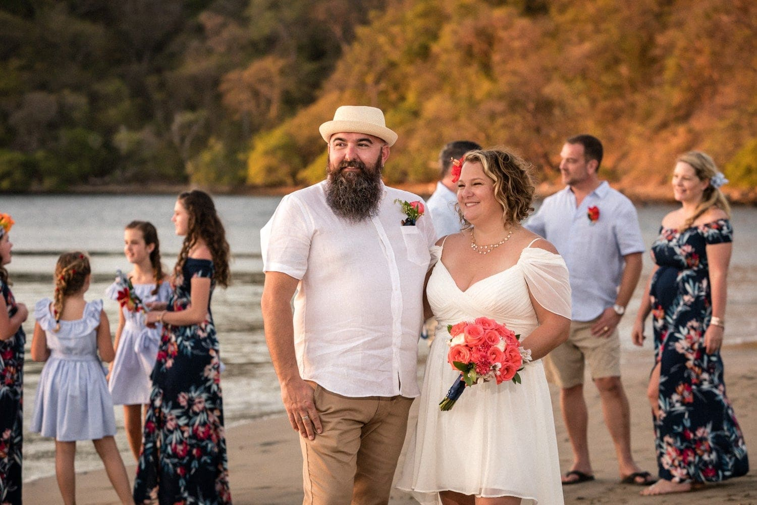 Wedding photo of bridal party on beach in Costa Rica.