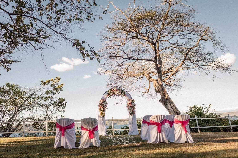 Wedding ceremony scene overlooking ocean at Occidental Papagayo.