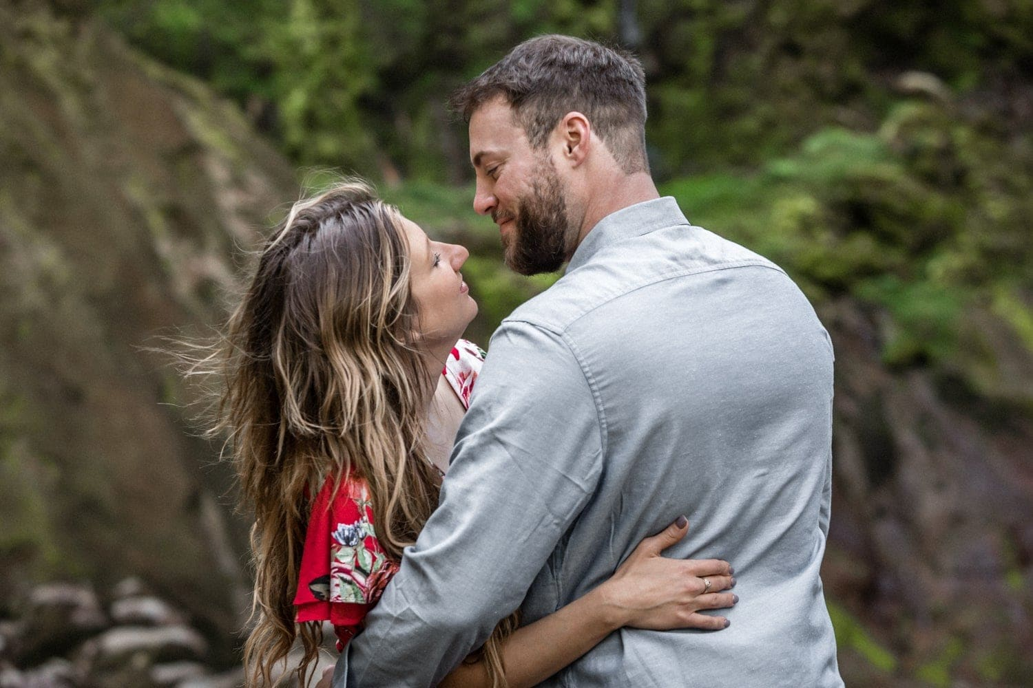 Romantic photo of couple during Costa Rica engagement photo session.